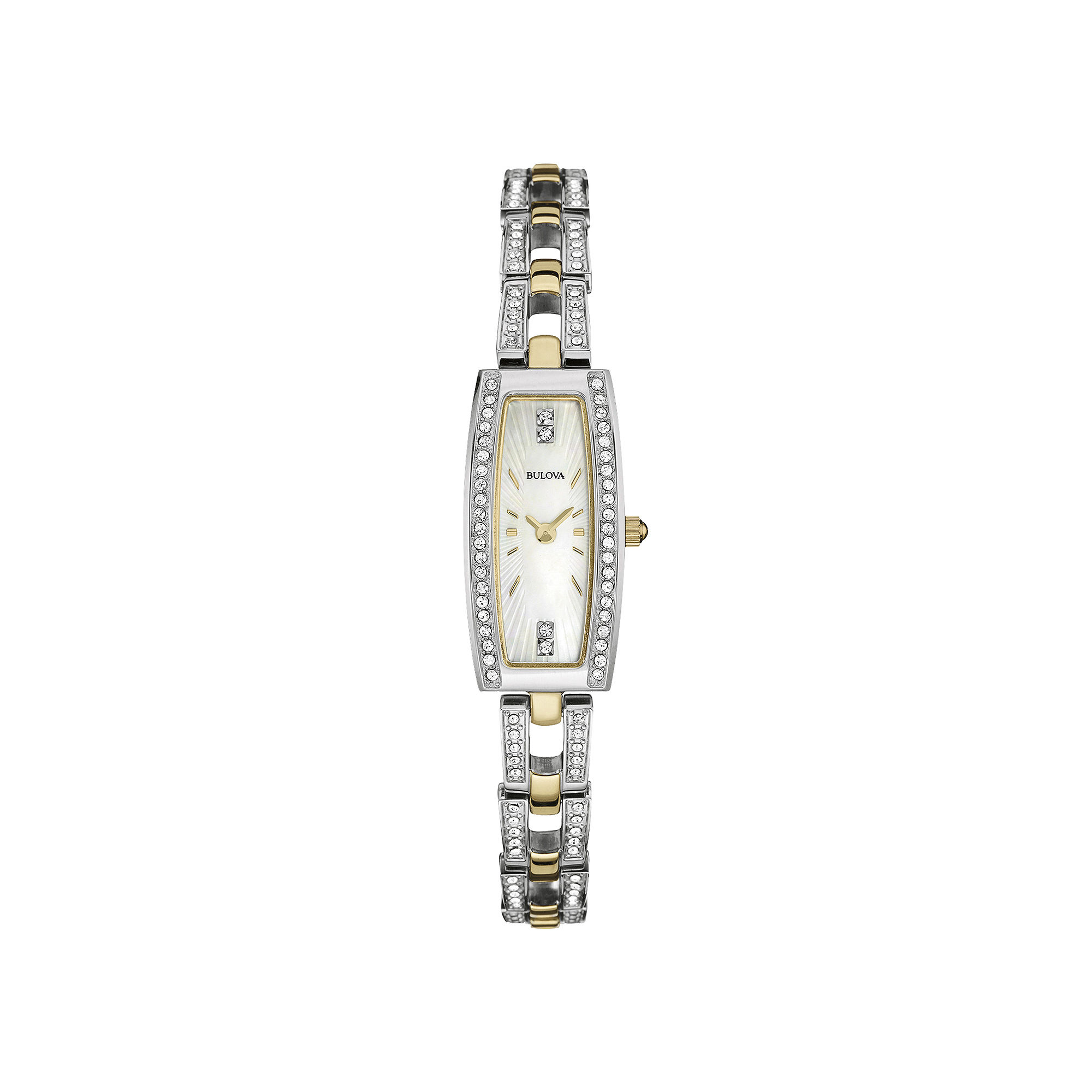 Bulova Womens Crystal-Accent Two-Tone Stainless Steel Tonneau Watch 98L214