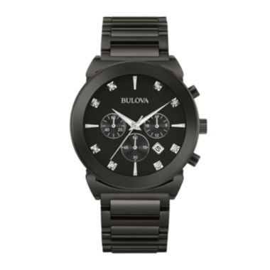 jcpenney.com | Bulova® Mens Diamond-Accent Black Stainless Steel Chronograph Watch 98D123