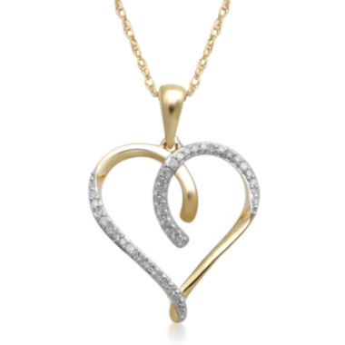 jcpenney.com | 1/10 CT. T.W. Diamond 10K Yellow Gold Heart Pendant Necklace