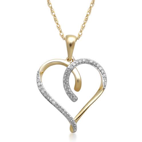 1/10 CT. T.W. Diamond 10K Yellow Gold Heart Pendant Necklace
