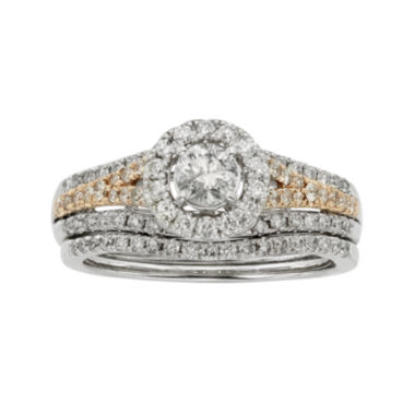 jcpenney.com | 1 CT. T.W. Certified Diamond 14K Two-Tone Gold Bridal Ring Set