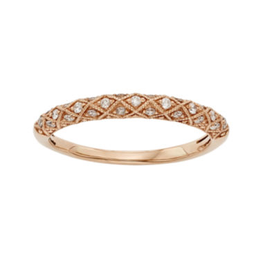 jcpenney.com | 1/6 CT. T.W. Certified Diamond 14K Rose Gold Wedding Band