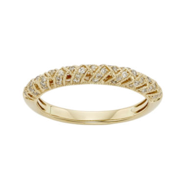 jcpenney.com | 1/4 CT. T.W. Certified Diamond 14K Yellow Gold Crossover Wedding Band