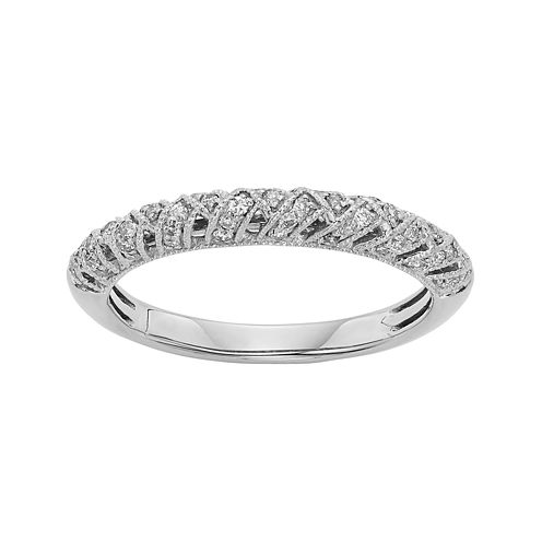1/4 CT. T.W. Certified Diamond 14K White Gold Crossover Wedding Band