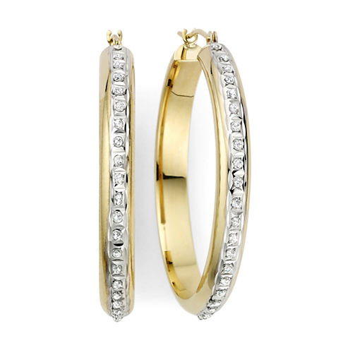 Diamond Fascination™ 14K Yellow Gold Flat Hoop Earrings