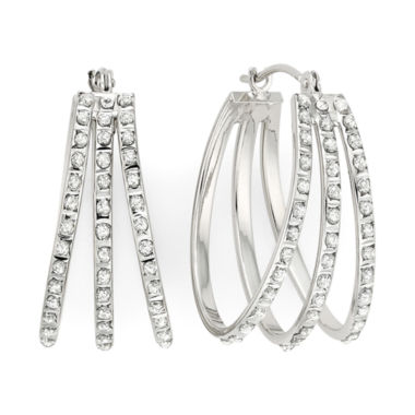 jcpenney.com | Diamond Fascination™ 14K White Gold Triple Fan Hoop Earrings