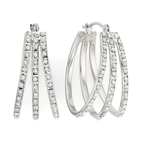 Diamond Fascination™ 14K White Gold Triple Fan Hoop Earrings