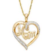 Diamond-Accent 14K Yellow Gold Over Sterling Silver Heart Mom Pendant Necklace
