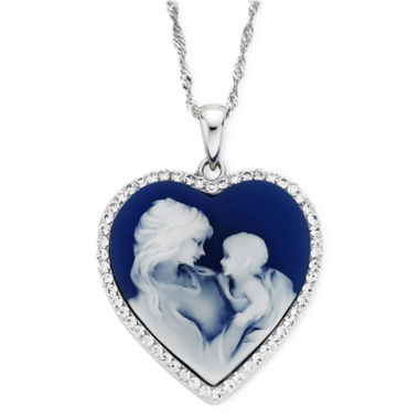 jcpenney.com | Blue Resin and Crystal Sterling Silver Cameo Heart Pendant Necklace