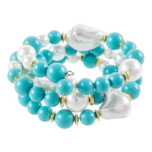 KJL by KENNETH JAY LANE Aqua and Simulated Pearl Gold-Tone Coil Bracelet