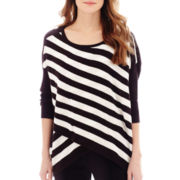 nicole by Nicole Miller® 3/4-Sleeve Striped Crossover Sweater