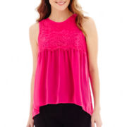 nicole by Nicole Miller® Sleeveless Lace-Trim Blouse