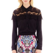 nicole by Nicole Miller® Long-Sleeve Lace-Trim Blouse