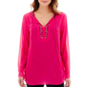 nicole by Nicole Miller® Long-Sleeve Beaded Tunic Top