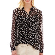 MNG by Mango® Long-Sleeve Sheer Print Blouse