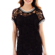 i jeans by Buffalo Short-Sleeve Lace-Trim Sporty Top