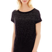 i jeans by Buffalo Short-Sleeve Twist-Waist Sparkle Top