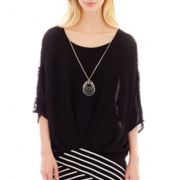 Alyx® 3/4-Sleeve Lace-Trim High-Low Top with Necklace