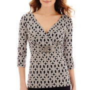 Alyx® 3/4-Sleeve Crossover Print Blouse