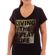 Xersion™ Short-Sleeve High-Low Graphic Tee - Plus