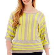 a.n.a® 3/4-Sleeve Striped Sweater - Plus