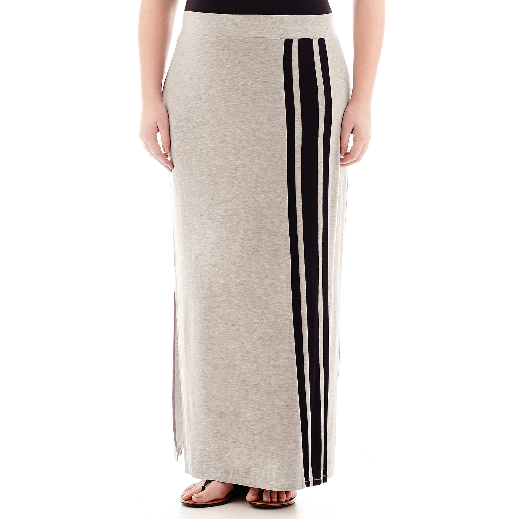 a.n.a Striped Wide-Waistband Knit Maxi Skirt - Plus