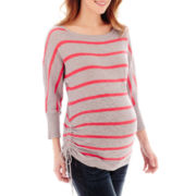Maternity Long-Sleeve Neon Striped Drawstring Tee