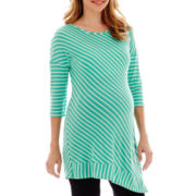 Maternity Elbow-Sleeve Striped Asymmetrical-Hem Sweater