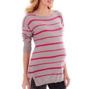Maternity 3/4–Sleeve Neon Striped Shirttail Tunic