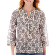 St. John's Bay® 3/4-Sleeve Print Peasant Top