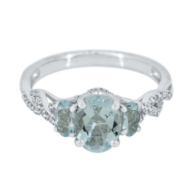 jcpenney.com | Genuine Aquamarine and Lab-Created White Sapphire Sterling Silver 3-Stone Ring