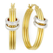 Diamond Fascination™ 18K Yellow Gold Over Sterling Silver Appliqué Hoop Earrings