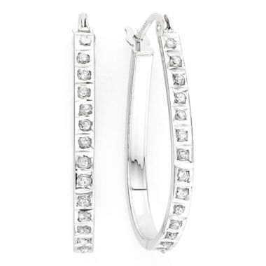 jcpenney.com | Diamond Fascination™ Sterling Silver Teardrop Hoop Earrings