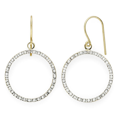 Diamond Fascination™ 14K Yellow Gold Open Circle Earrings