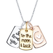 Love You to the Moon Sterling Silver Three-Charm Pendant Necklace