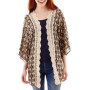 Rewind 3/4-Sleeve Open-Front Crochet Kimono