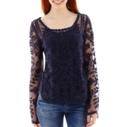 Rewind Long-Sleeve Scalloped-Hem Crochet Top