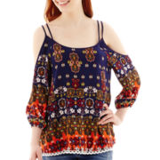 Lily Star 3/4-Sleeve Cold-Shoulder Print Top