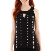 by&by Embroidered Keyhole Tank Top