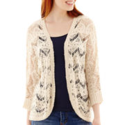 Pink Rose 3/4-Sleeve Open-Front Pointelle Cardigan