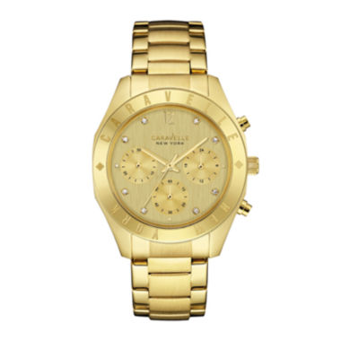 jcpenney.com | Caravelle New York® Womens Boyfriend Chronograph Gold-Tone Stainless Steel Bracelet Watch 44L213