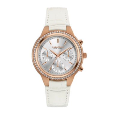 jcpenney.com | Caravelle New York® Womens Crystal-Accent Boyfriend Chronograph White Leather Strap Bracelet Watch 44L214