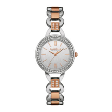 jcpenney.com | Caravelle New York® Womens Crystal-Accent Open Link Two-Tone Stainless Steel Bracelet Watch 45L157