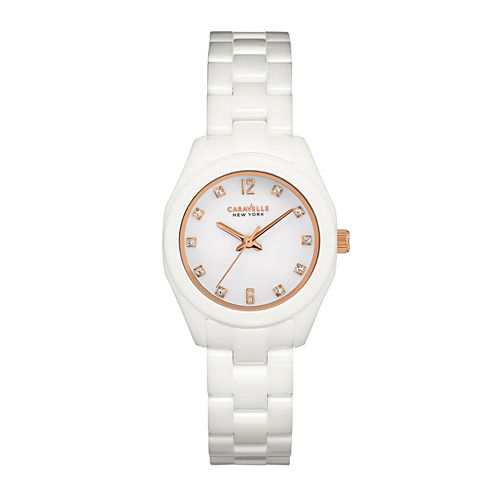 Caravelle New York® Womens Crystal-Accent White Ceramic Bracelet Watch 45L159