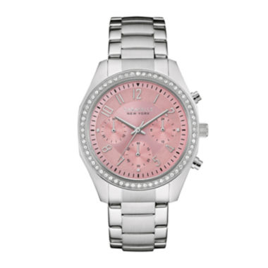 jcpenney.com | Caravelle New York® Womens Crystal-Accent Pink Dial Boyfriend Chronograph Stainless Steel Bracelet Watch 43L191
