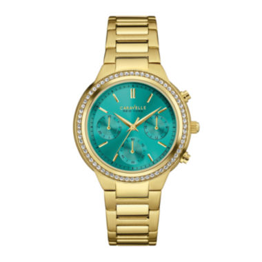 jcpenney.com | Caravelle New York® Womens Crystal-Accent Boyfriend Chronograph Gold-Tone Stainless Steel Bracelet Watch 44L215