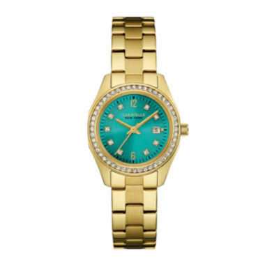 jcpenney.com | Caravelle New York® Womens Crystal-Accent Gold-Tone Stainless Steel Bracelet Watch 44M109