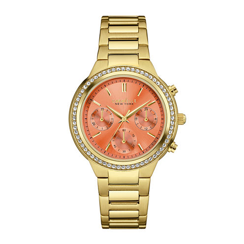 Caravelle New York® Womens Crystal-Accent Boyfriend Chronograph Gold-Tone Stainless Steel Bracelet Watch 44L218