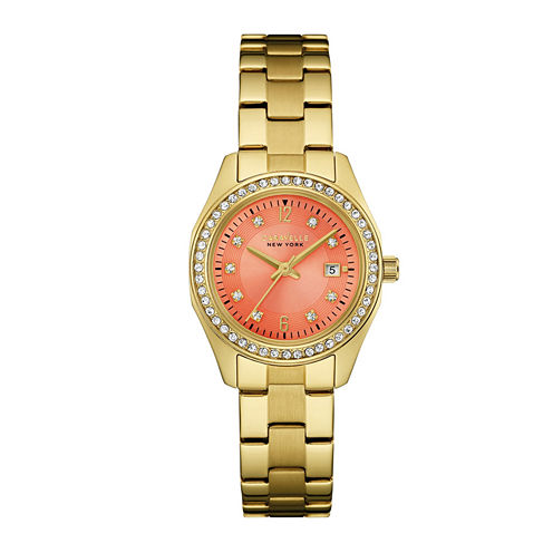 Caravelle New York® Womens Crystal-Accent Gold-Tone Stainless Steel Bracelet Watch 44M110