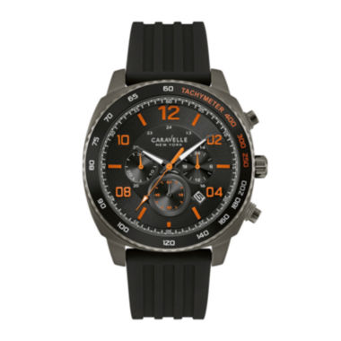jcpenney.com | Caravelle New York® Mens Chronograph Black Silicone Strap Watch 45B141